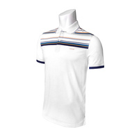 IZOD SS Tailgating Jersey Eng Stripe Polo- Bright White