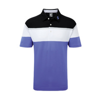 FootJoy Athletic Fit Raglan Chest Stripe Polo - Light Purple / White