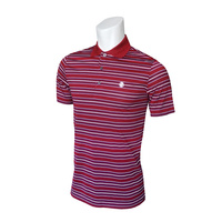 IZOD SS Patriot Feeder Stripe Polo - Red Dhalia
