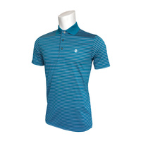 IZOD Feeder Fashion Stripe Polo - Mykonos Blue