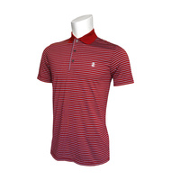 IZOD Feeder Fashion Stripe Polo - Red Dahlia