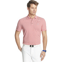 IZOD SS Greenie Feeder Stripe Polo - POLISH RED