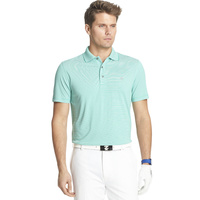 IZOD SS Greenie Feeder Stripe Polo - Emerald