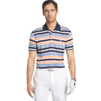 IZOD SS Road Map Auto Stripe Jersey Polo - Peacoat