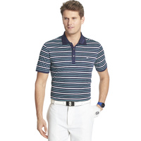 IZOD SS On A Boat Auto Stripe Oxford Polo - Peacoat Green
