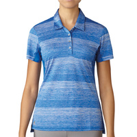 Adidas 3 Stripe Ladies Polo - Blue