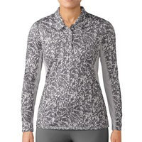 Adidas Ladies UPF Long Sleeve Polo - Grey Two/Trace Grey