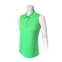 IZOD Ladies Sleeveless Knt Cllr Heathered Polo - Irish Green