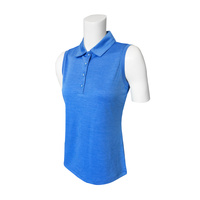 IZOD Sleeveless Knt Cllr Heathered Polo - Blue Revival