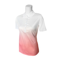 IZOD Ladies SS Dip Dye Print Polo - Candy Pink