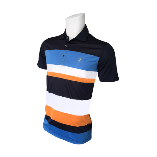 SS Intrepid Eng Stripe Jersey Polo - Peacoat [Size: Small]