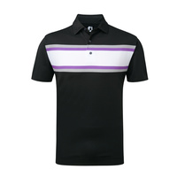FootJoy Stripe Pique All Colours Chest Stripe Polo Shirt - Black/Heather Grey/Violet/White