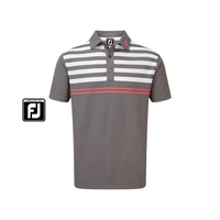 FootJoy Stretch Pique with Graphic Stripes Polo - Granite