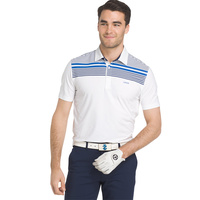 IZOD Printed ENG Stripe Stretch Jersey Polo - Bright White