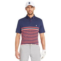IZOD Traditional Engineer Stripe Polo - Saltwater Red
