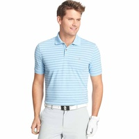 IZOD SS Mesh Textured Stripe Polo - Light Blue