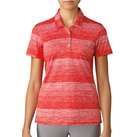 adidas 3 Stripe Ladies Polo - Red