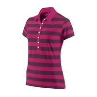 Nike Ladies Rugby Stripe Polo - Fireberry