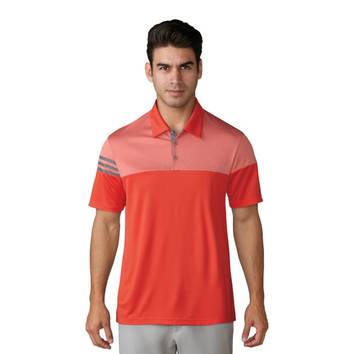 Adidas Puremotion Heather 3 Stripes Polo - Blazing Orange [Size: Small]