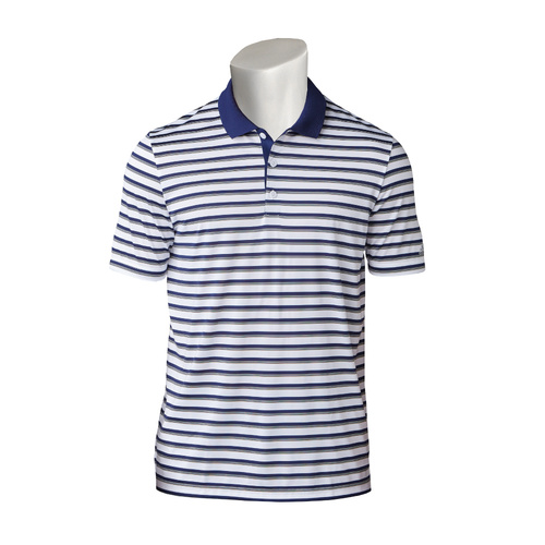 Adidas Club Merch Stripe Mens Polo - Grey/Blue [Size: Small]