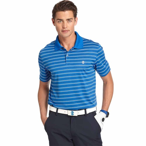 IZOD SS Bump And Run Feeder Stripe Polo - Blue [Size:Small]